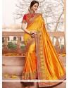 Tiptop Art Silk Patch Border Work Designer Traditional Saree
