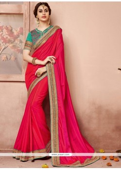 Refreshing Patch Border Work Hot Pink Traditional Saree