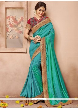 Enticing Sea Green Designer Traditional Saree
