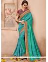 Enticing Sea Green Designer Traditional Saree