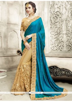 Tantalizing Net Beige And Blue Floral Patterns Work Half N Half Designer Saree