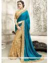 Tantalizing Net Beige And Blue Floral Patterns Work Half N Half Designer Saree