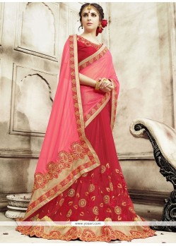 Paramount Satin Patch Border Work Designer Half N Half Saree