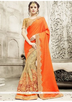Enthralling Art Silk Patch Border Work Half N Half Saree
