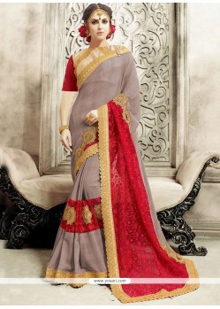 Majestic Faux Chiffon Grey And Red Classic Designer Saree