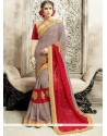 Majestic Faux Chiffon Grey And Red Classic Designer Saree