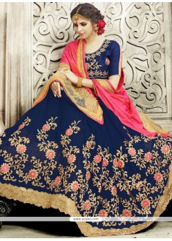 Majestic Lycra Navy Blue And Pink Embroidered Work Designer Half N Half Saree