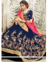 Majestic Lycra Navy Blue And Pink Embroidered Work Designer Half N Half Saree