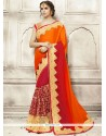 Girlish Orange And Red Patch Border Work Shaded Saree
