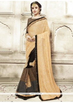 Sensible Lycra Beige And Black Patch Border Work Classic Designer Saree