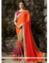 Customary Faux Georgette Patch Border Work Classic Saree