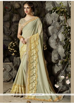 Resham Faux Georgette Saree In Beige
