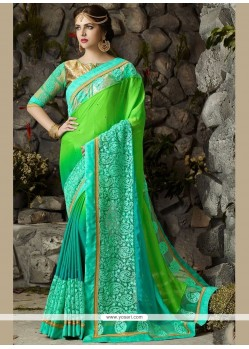 Dignified Blue And Green Resham Work Chiffon Satin Shaded Saree
