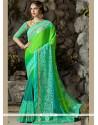 Dignified Blue And Green Resham Work Chiffon Satin Shaded Saree