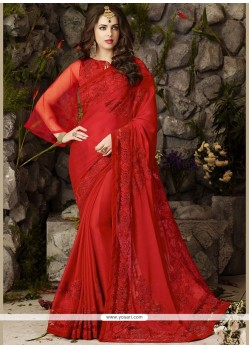 Distinguishable Embroidered Work Red Chiffon Satin Classic Designer Saree