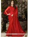 Distinguishable Embroidered Work Red Chiffon Satin Classic Designer Saree