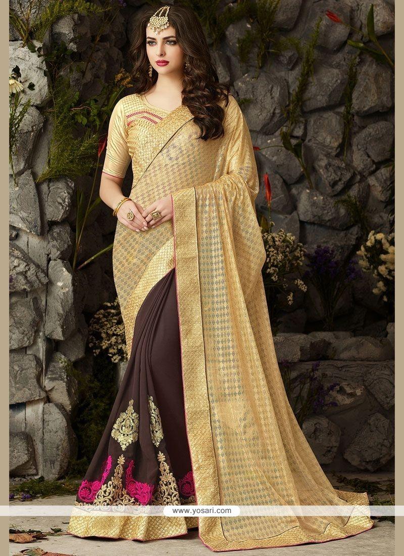 Fashionable Beige And Brown Patch Border Work Faux Georgette Designer Half N Half Saree