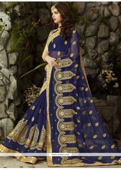 Amazing Faux Georgette Navy Blue Patch Border Work Classic Designer Saree