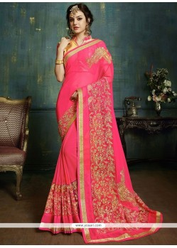 Irresistible Pink Faux Georgette Classic Designer Saree