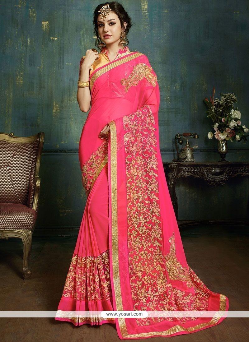 Irresistible Pink Faux Georgette Classic Designer Saree