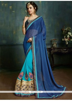 Desirable Blue And Navy Blue Embroidered Work Lycra Half N Half Saree