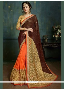 Blissful Faux Georgette Brown And Orange Designer Half N Half Saree