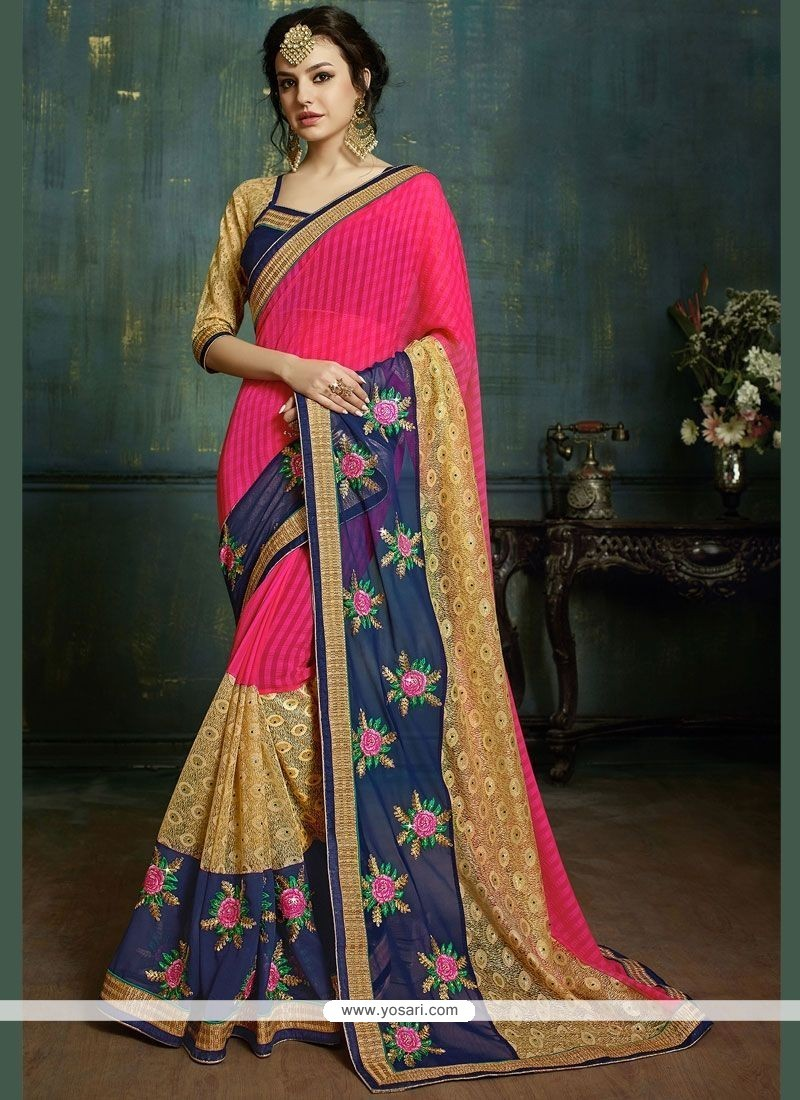 Perfect Net Pink Embroidered Work Classic Designer Saree