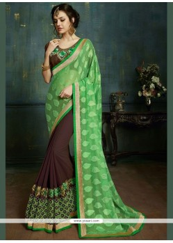 Elite Brown And Green Net Half N Half Saree