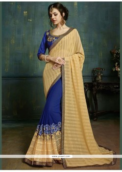 Competent Faux Georgette Embroidered Work Designer Half N Half Saree