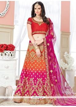 Integral Resham Work Hot Pink And Orange Art Silk Lehenga Choli
