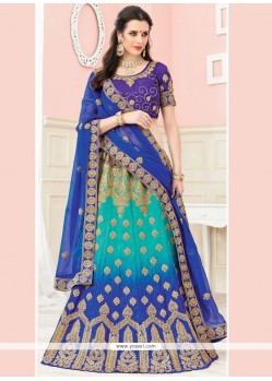 Blue And Sea Green Resham Work Lehenga Choli