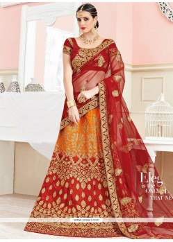 Mesmerizing Orange And Red Zari Work Art Silk Lehenga Choli