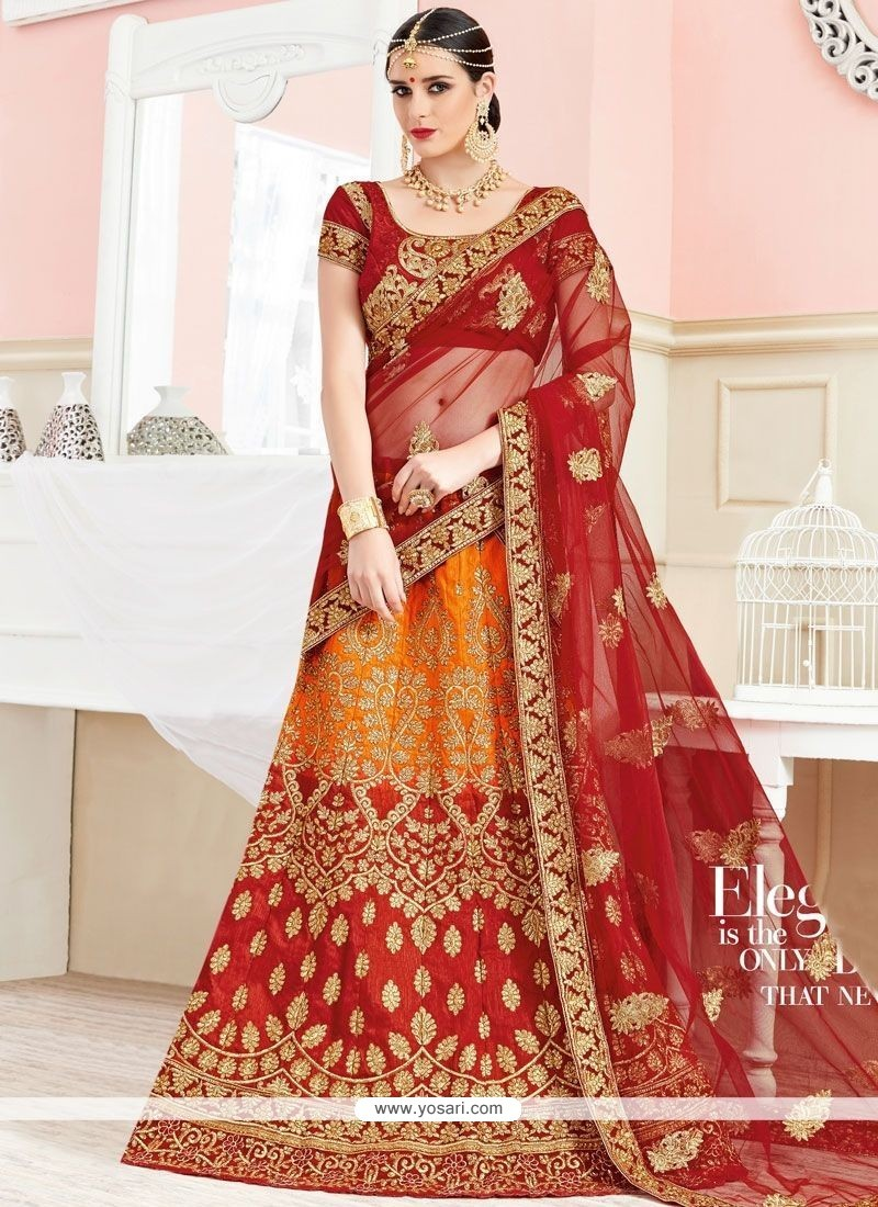 Mesmerizing Orange And Red Zari Work Art Silk Lehenga Choli