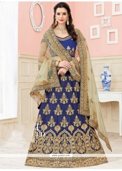 Sorcerous Navy Blue Lace Work Lehenga Choli