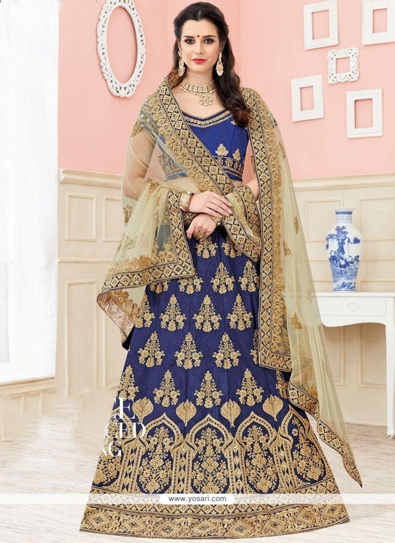 Sorcerous Navy Blue Lace Work Lehenga Choli