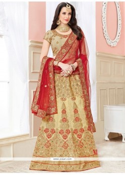 Phenomenal Art Silk Beige And Red Lehenga Choli