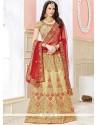 Phenomenal Art Silk Beige And Red Lehenga Choli