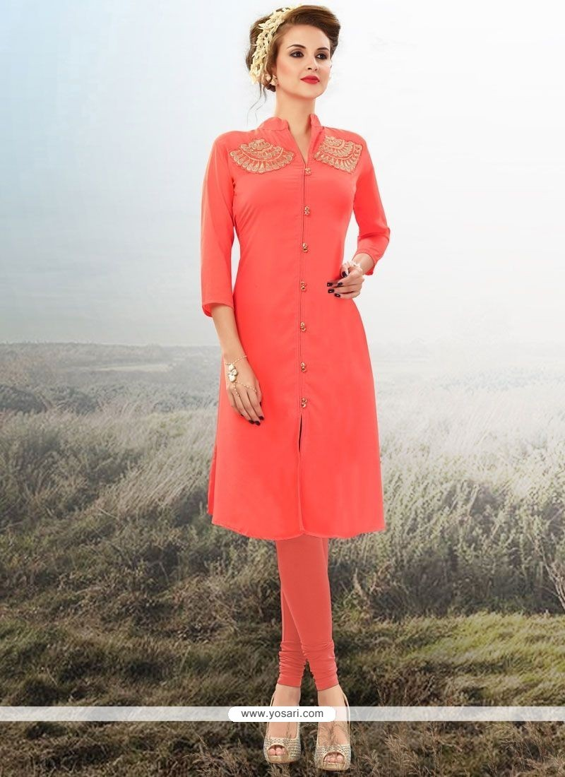 Chic Embroidered Work Faux Georgette Party Wear Kurti