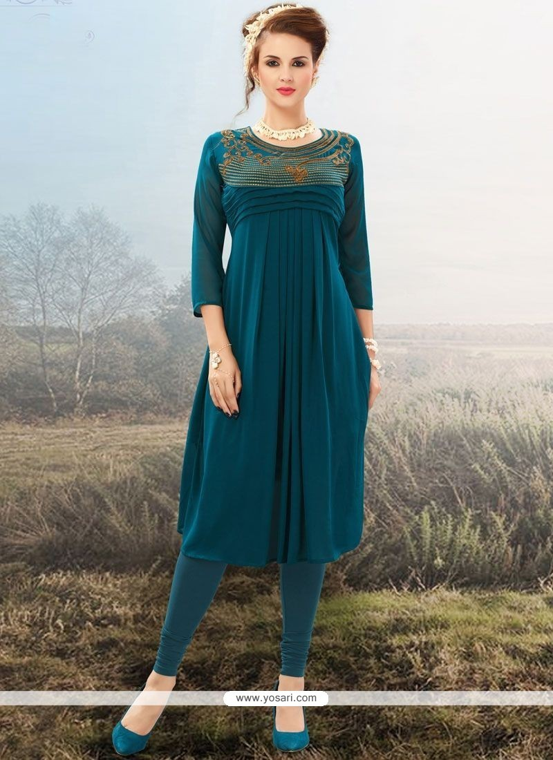 Delightsome Embroidered Work Faux Georgette Party Wear Kurti