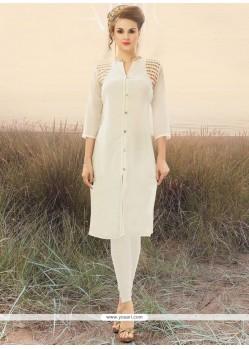 Cherubic Faux Georgette White Party Wear Kurti