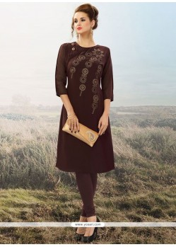 Voluptuous Brown Embroidered Work Party Wear Kurti