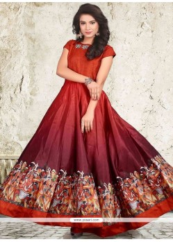 Cute Maroon Banglori Silk Digital Print Work Readymade Designer Gown