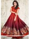 Cute Maroon Banglori Silk Digital Print Work Readymade Designer Gown