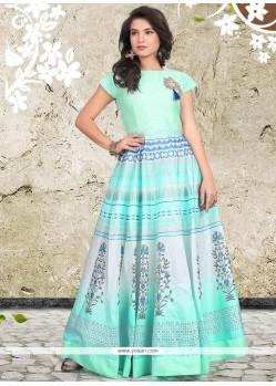 Banglori Silk Blue Digital Print Work Readymade Designer Gown