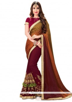 Pristine Maroon Embroidered Work Faux Georgette Half N Half Saree