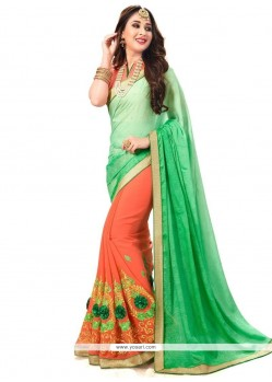 Sophisticated Green And Orange Half N Half Saree