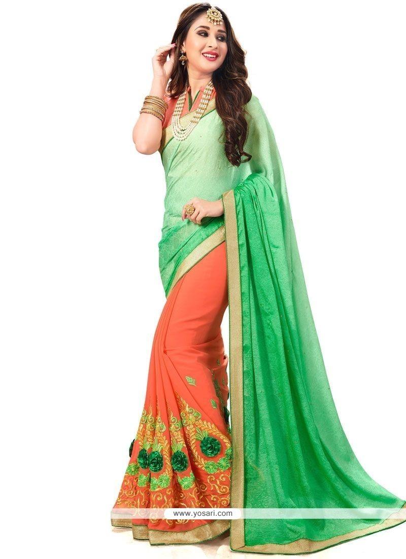Sophisticated Green And Orange Half N Half Saree