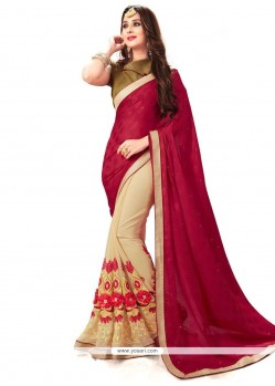 Fabulous Embroidered Work Designer Half N Half Saree