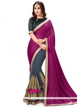 Peppy Embroidered Work Fancy Fabric Half N Half Designer Saree