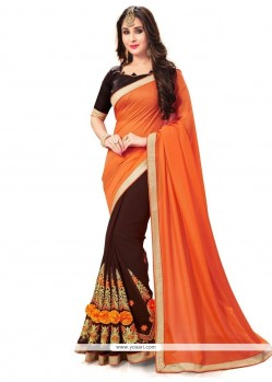 Monumental Fancy Fabric Patch Border Work Half N Half Designer Saree